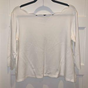 Anthropologie Scalloped 3/4 Sleeve Shirt